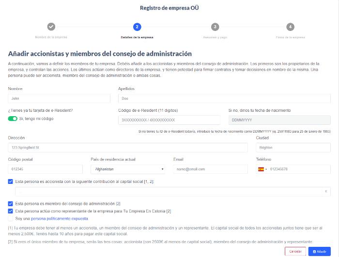 incribir accionistas en una empresa en Estononia